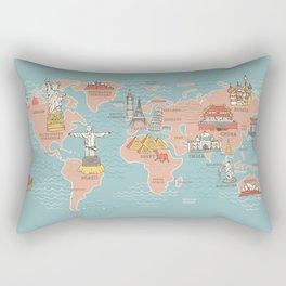 World Map Cartoon Style Rectangular Pillow