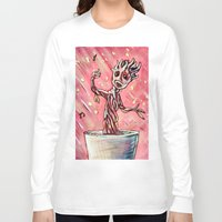 groot Long Sleeve T-shirts featuring Lil' Groot by MSG Imaging