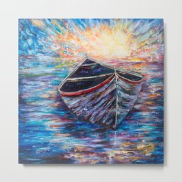 Wooden Boat at Sunrise - original oil painting with palette knife Metal Print