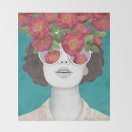 The optimist // rose tinted glasses Throw Blanket