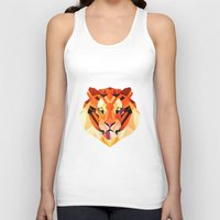 low poly Tank Tops featuring Low Poly Tiger by Evan Smith