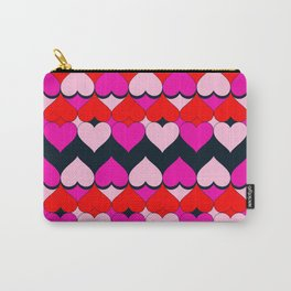Multi Hearts Red Pink Navy Carry-All Pouch