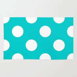 Large Polka Dots - White on Cyan Rug
