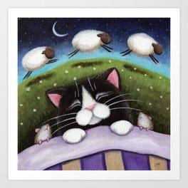 Cat - Sheep Dreams Art Print