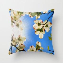 Sunlit Dogwood Blooms Throw Pillow