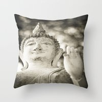 buddhism Throw Pillows featuring Buddha in Sukhothai by Maria Heyens