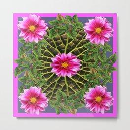 Abstracted Fuchsia Pink Dahlias Stylized Garden Pattern Metal Print