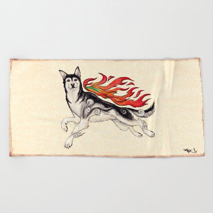 Marukomu Inukami ~ Ōkami inspired husky dog, watercolor & ink, 2015 Beach Towel