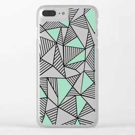 Abstraction Lines with Mint Blocks Clear iPhone Case
