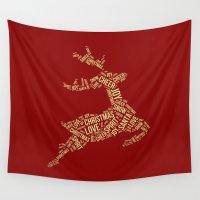 reindeer Wall Tapestries featuring Reindeer by Victoria Breton