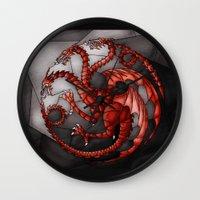 targaryen Wall Clocks featuring House Targaryen Stained Glass by itsamoose
