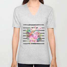 Tropical floral leaves and flamingos stripes Unisex V-Neck