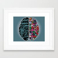 brain Framed Art Prints featuring Brain by BlueLela