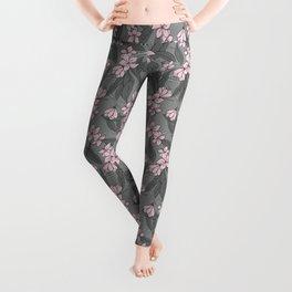 Sakura Branch Pattern - Ballet Slipper + Neutral Grey Leggings