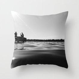 Black Lake Sunbursts Throw Pillow