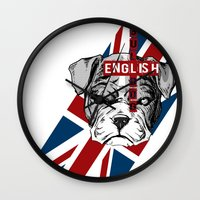 english bulldog Wall Clocks featuring English Bulldog by Det Tidkun