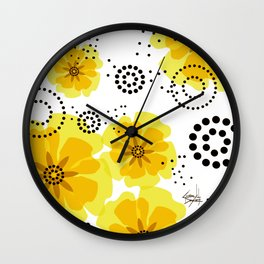 PEPPER POPPIES | yellow Wall Clock