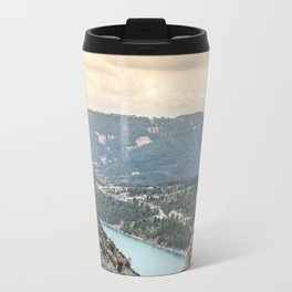 Blue mountain lake in France Travel Mug