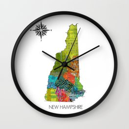 Map of NH Art Collage Wall Clock