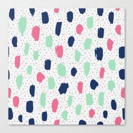 Pink blue brush strokes pattern Canvas Print