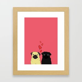 Pugs In Love Pink Framed Art Print