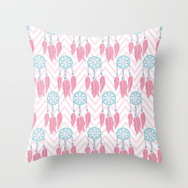 Bohemian Teal Pink Beaded Dreamcatcher Chevron Throw Pillow
