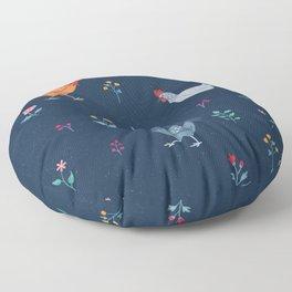 Little Hens (blue) Floor Pillow