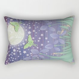 Moonlit stars, luna moths, snails, & irises Rectangular Pillow