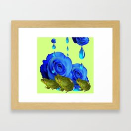 DECORATIVE BLUE SURREAL DRIPPING ROSES & GREEN FROGS Framed Art Print