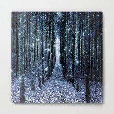 Magical Forest Teal Indigo Elegance Metal Print