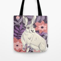 hare Tote Bags featuring Hare by Abbie Imagine