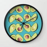 avocado Wall Clocks featuring Avocado by MagentaRose (UK)