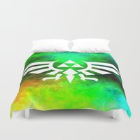 triforce Duvet Covers featuring Colourful Triforce by Rebekhaart