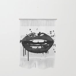 Black and white glamour fashion lips Wall Hanging