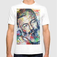 Ernest Hemingway Mens Fitted Tee MEDIUM White