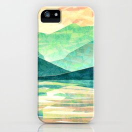 Spring Sunset over Emerald Mountain Landscape Painting iPhone Case
