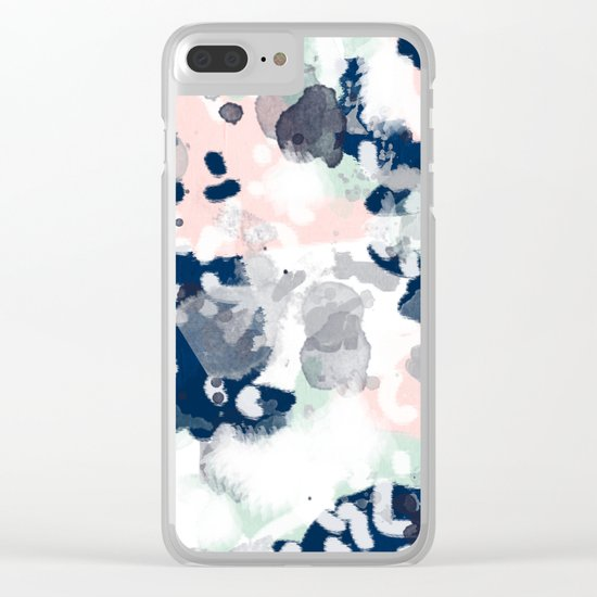 Melia - abstract minimal painting acrylic watercolor nursery mint navy pink Clear iPhone Case