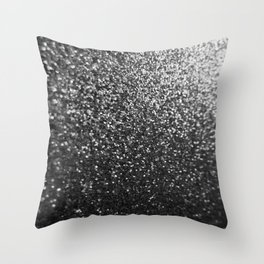 Silver Sparkle Glitter Throw Pillow
