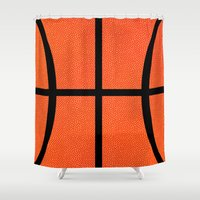 basketball Shower Curtains featuring Basketball by Rorzzer