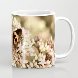 Buckeye Butterfly On Pale Pink Flowers Coffee Mug