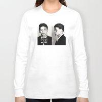 frank sinatra Long Sleeve T-shirts featuring Frank Sinatra Mug Shot  by All Surfaces Design