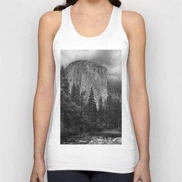 Yosemite National Park, El Capitan, Black and White Photography, Outdoors, Landscape, National Parks Unisex Tank Top