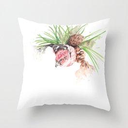 Bird in pine cone tree Throw Pillow