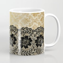 Black floral luxury lace on gold damask pattern Coffee Mug
