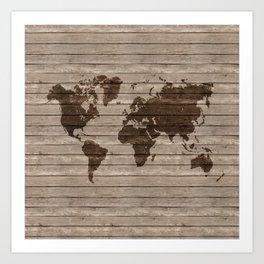 Rustic world map Art Print