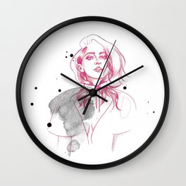 Poppy Pink Fashion Illustration Wall Clock