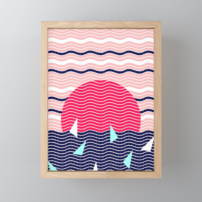 Hello Ocean Sunset Waves Framed Mini Art Print