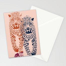 Kitten Club - Navy, Orange & Purple Leopard Print by Kristen Baker Stationery Cards