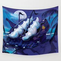 pirate ship Wall Tapestries featuring Old Pirate Ship in Dock at night by Nick's Emporium Gallery