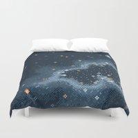 8bit Duvet Covers featuring Grey Rift Galaxy (8bit) by sp8cebit